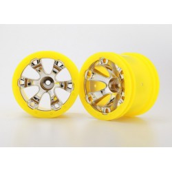 "Traxxas 7275 Wheels, Geode 2.2"" (chrome, yellow beadlock style) (12mm hex) (2)"