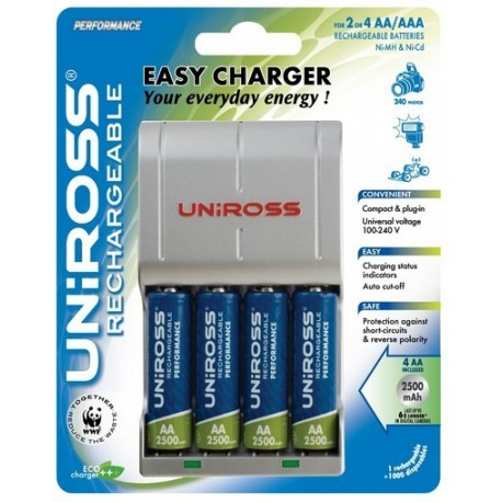 Uniross AA og AAA lader inkl 4 x 2500mAh batterier