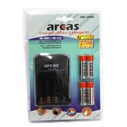 AA-batteri lader med 4x AA 2700 mAh batterier