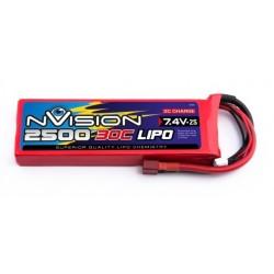 LiPo Nvision 7,4V 2500mAh 30c deans kvalitetsbatteri lav vægt