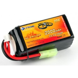 LiPo 11,1V - 2000mAh bl.a. til Ar.Drone - mini Tamiya stik - 25c