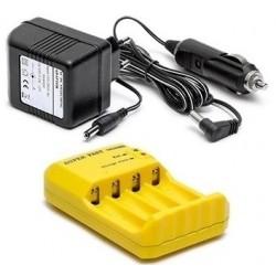 AA og AAA batterilader til 4 styk NiMh-batterier - med cigarstik