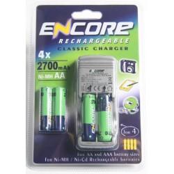 AA og AAA lader med 4x2700mAh batterier NiMh og NiCd