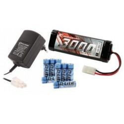 Starsæt til fjernstyret el-bil. Batteri 7.2V NiMh, lader og AA-batterier