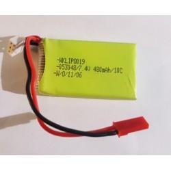 Lille LiPo batteri på 7,4 V - 480mAh 10c - JST stik