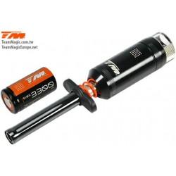 Gløderørsstarter med måler - og udskifteligt genopladeligt batteri