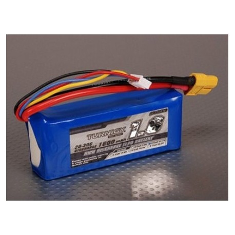 LiPo batteri 11,1V 1600mAh 3S 20C Lipo Pack - Turnigy - XT60 + Deans