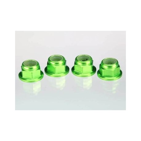 Traxxas 1747G Lock Nut Aluminum Flanged M4 Green (4)