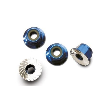 Traxxas 1747R Lock Nut Aluminium Flanged M4 Blue (4)