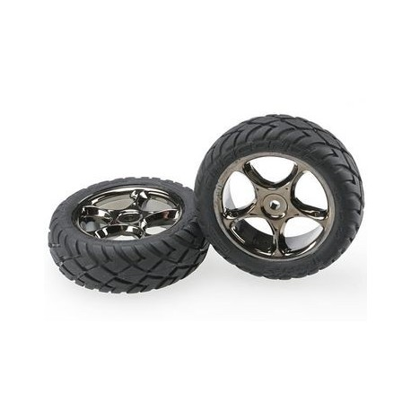 Traxxas 2479A Tires & Wheels Anaconda/Tracer Black Chrome 2WD Front (2)