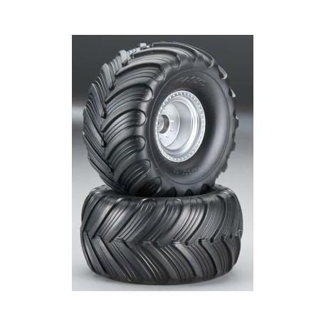 Traxxas 3665 Tires & Wheels Terra Groove/Satin Chrome 2,2/3,0 (2)