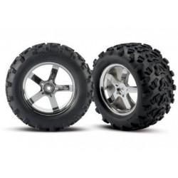 """Traxxas 4973R Wheels & Tires Maxx/Hurricane (14mm) 3,8"""" (2)"""