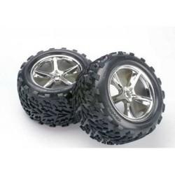 """Traxxas 5374 Tires & Wheels Talon/Gemini Chrome (14mm) 3,8"""" (2)"""