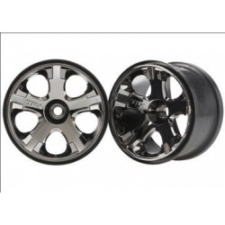 "Traxxas 5577A Wheels All-Star Black Chrome (Nitro Front) 2.8"" (2)"