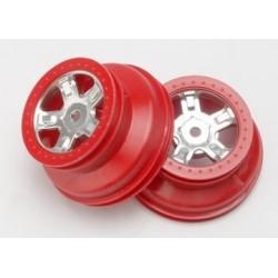 Traxxas 7072A Wheel SCT Satin Chrome, red beadlock(2)