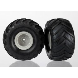 Traxxas 7265 Tires & wheels, assembled (Monster Jam replica grey wheels,