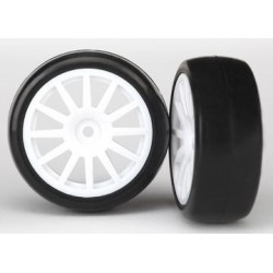 Traxxas 7572 T&W, SPOKE WHT WHEEL, SLICKS