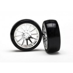 Traxxas 7573 12-SP CHRM WHEELS, SLICK TIRES