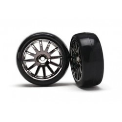 Traxxas 7573A 12-SP BLK WHEELS, SLICK TIRES