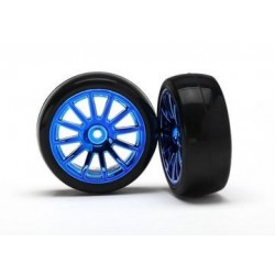 Traxxas 7573R 12-SP BLUE WHEELS, SLICK TIRES