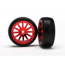Traxxas 7573X 12-SP RED WHEELS, SLICK TIRES
