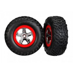 TRX5887R Tires & Wheels SCT S1SCT Chrome-Red 4WD2WD Rear TSM (2)