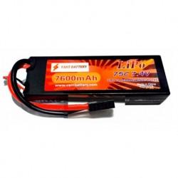 7.4v 2S 7600mAh 75c LiPo batteri XT60 stik - hardcase