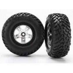 Traxxas 5875X Tires & Wheels SCT/SCT Satin Chrome 2WD Fram (2)