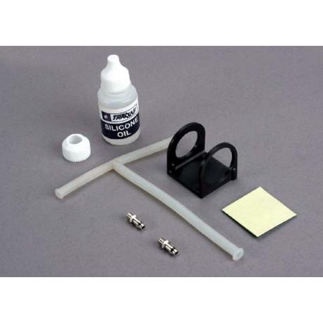 """Traxxas 1545 Oil bottle/ oil bottle ring/ rubber """"T"""" oil tube/ oil tube connector"""