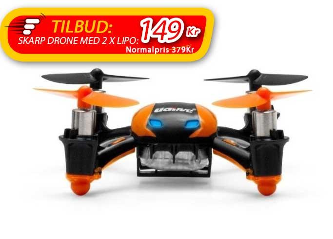 Drone m. 2 x LiPo, Flip og meget holdbar